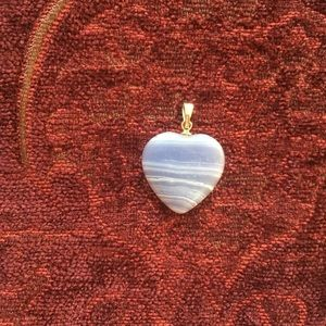 Jewelry - Blue banded agate heart pendant